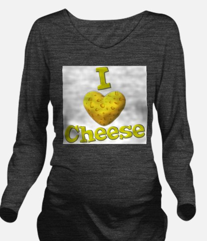 funny i love cheese with cheesey heart Long Sleeve