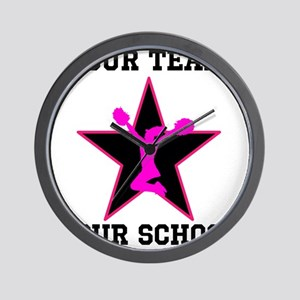 Custom pink and black cheerleading Wall Clock
