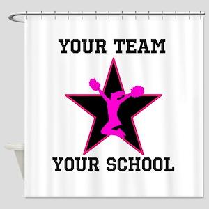 Custom pink and black cheerleading Shower Curtain