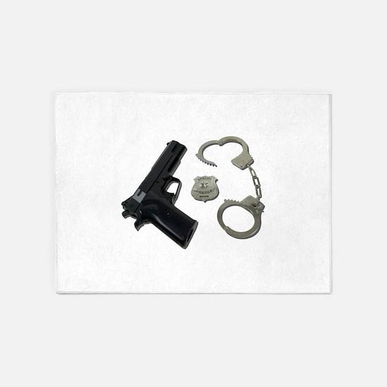 PoliceBadgeGunHandcuffs090411.png 5'x7'Area Rug