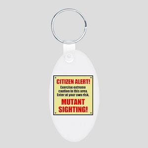 Citizen Alert! Mutants! Aluminum Oval Keychain