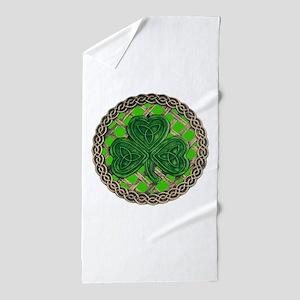Shamrock And Celtic Knots Beach Towel