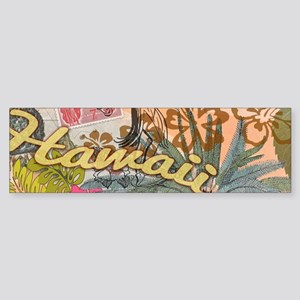 Vintage Hawaii Travel Colorful Hawa Bumper Sticker