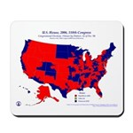 U.S. House by Party, 110th Congress, Mousepad-Red