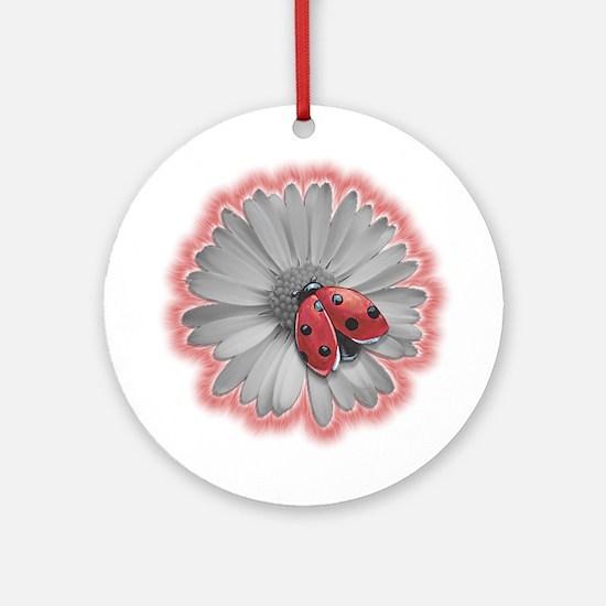 Ladybug on Black and White Daisy Ornament (Round)