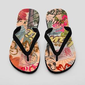 Vintage Hawaii Travel Colorful Hawaiian Flip Flops