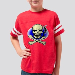 Blk_Smoking_Skull_0022 Youth Football Shirt