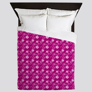 Tropical Floral Tiki Pink Queen Duvet