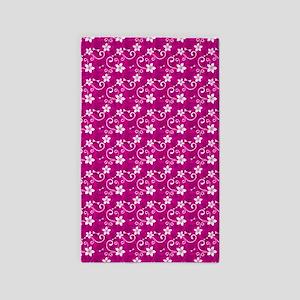 Tropical Floral Tiki Pink 3'X5' Area Rug