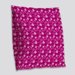 Tropical Floral Tiki Pink Burlap Throw Pillow