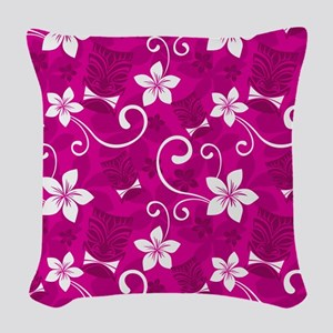 Tropical Floral Tiki Pink Woven Throw Pillow