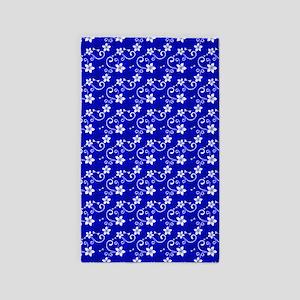 Tropical Floral Tiki Blue 3'X5' Area Rug