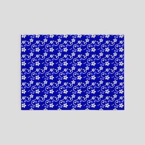 Tropical Floral Tiki Blue 5'X7'area Rug