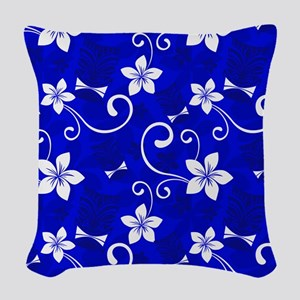 Tropical Floral Tiki Blue Woven Throw Pillow