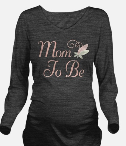 Mom To Be rose bud flower Long Sleeve Maternity T-