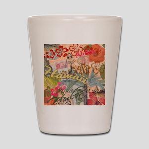 Vintage Hawaii Travel Colorful Hawaiian Shot Glass