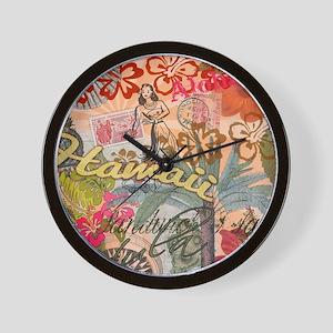 Vintage Hawaii Travel Colorful Hawaiian Wall Clock