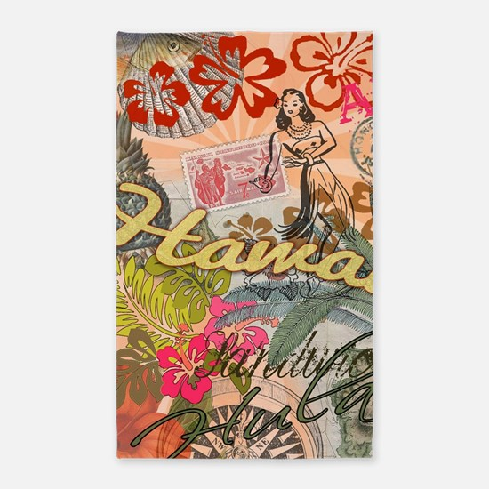 Vintage Hawaii Travel Colorful Hawaiian T Area Rug