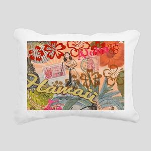 Vintage Hawaii Travel Co Rectangular Canvas Pillow