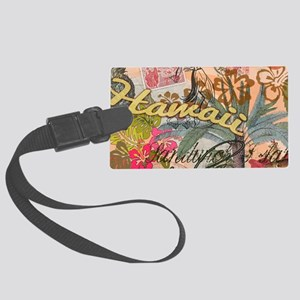 Vintage Hawaii Travel Colorful H Large Luggage Tag