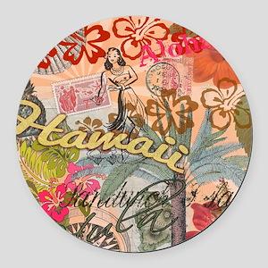 Vintage Hawaii Travel Colorful Ha Round Car Magnet