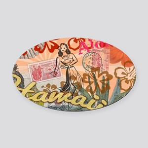 Vintage Hawaii Travel Colorful Haw Oval Car Magnet