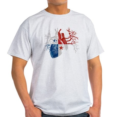 Panama Flag in Real Heart Light T-Shirt