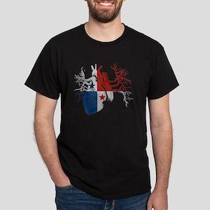 Panama Flag in Real Heart Dark T-Shirt