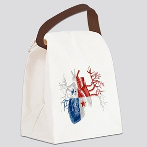 Panama Flag in Real Heart Canvas Lunch Bag
