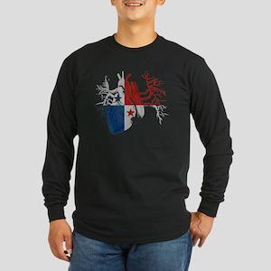 Panama Flag in Real Heart Long Sleeve Dark T-Shirt