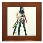 Naked Zombie Girl Framed Tile