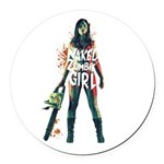 Naked Zombie Girl Round Car Magnet