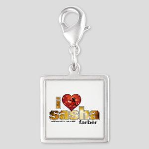 I Heart Sasha Farber Silver Square Charm