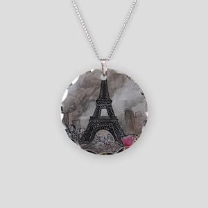 Industrial Paris Necklace Circle Charm