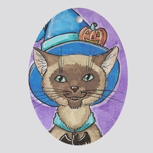 Pumpkin Siamese Witch Kitty Ornament (Oval)