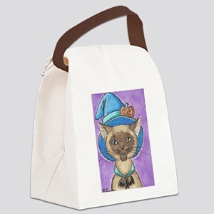 Pumpkin Siamese Witch Kitty Canvas Lunch Bag