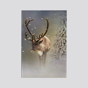 Santa Claus Reindeer in the snow Magnets
