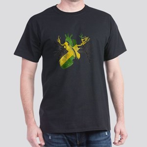 Jamaican Flag In Real Heart Dark T-Shirt