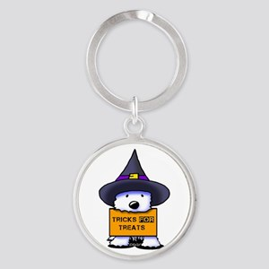 TFT Westie Witch Round Keychain