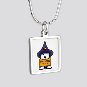 TFT Westie Witch Silver Square Necklace