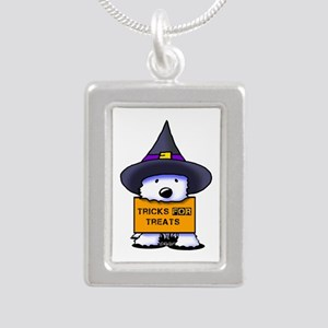 TFT Westie Witch Silver Portrait Necklace
