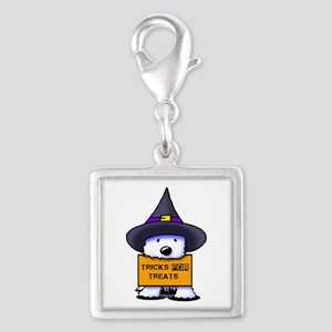 TFT Westie Witch Silver Square Charm