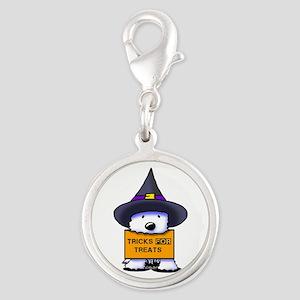 TFT Westie Witch Silver Round Charm