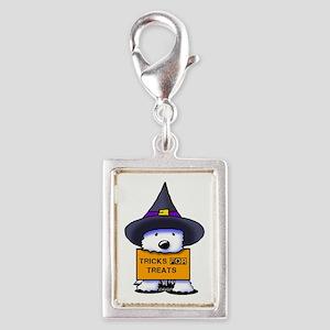 TFT Westie Witch Silver Portrait Charm
