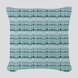 Cool Breeze Blue Abstract Woven Throw Pillow