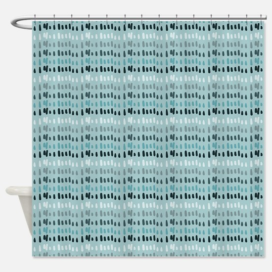Cool Breeze Blue Abstract Shower Curtain