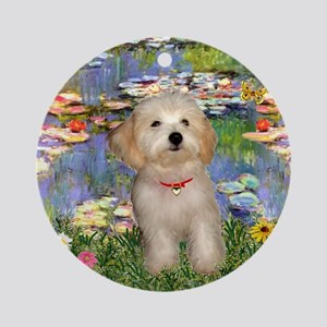 Lilies & Havanese Pup Ornament (Round)