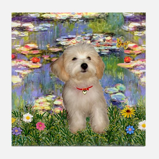 Lilies & Havanese Pup Tile Coaster