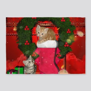 Christmas, funny kitten with gifts 5'x7'Area Rug