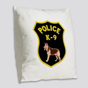 K9 Police Officers Burlap Throw Pillow